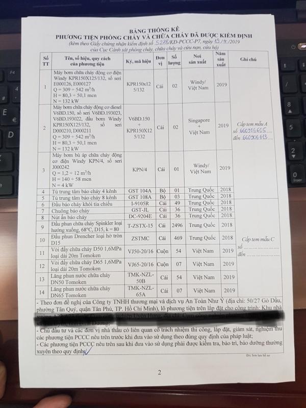 MÁY DIESEL VERSAR SINGAPOR ĐƯỢC KIỂM ĐỊNH CỤC PCCC