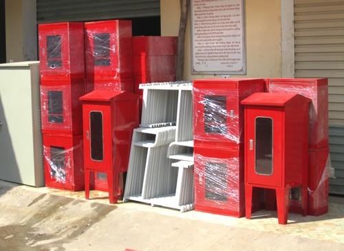 Hộp tủ cứu hỏa pccc đựng van,vòi,lăng phun,bình chữa cháy,trong nhà,ngoài trời,vách tường