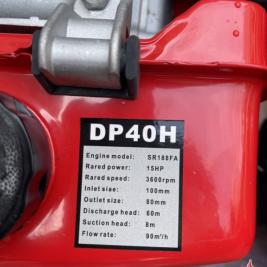 MÁY BƠM DIESEL DP40H KHIÊNG TAY CÔNG XUẤT 15HP MODEL SR188FA